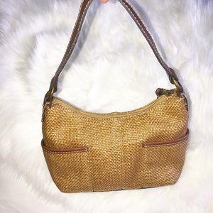 Fossil straw brown leather trim shoulder bag